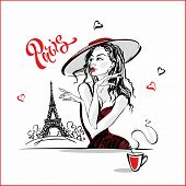 The Girl In The Hat Drinking Coffee.  Fashion Model In Paris. Eiffel Tower. Romantic Composition. El poster