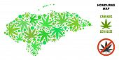 Royalty Free Cannabis Honduras Map Composition Of Weed Leaves. Template For Narcotic Addiction Campa poster