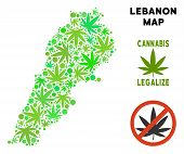 Royalty Free Cannabis Lebanon Map Composition Of Weed Leaves. Template For Narcotic Addiction Campai poster