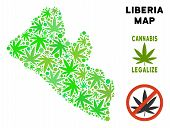 Royalty Free Cannabis Liberia Map Mosaic Of Weed Leaves. Concept For Narcotic Addiction Campaign Aga poster