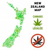 Royalty Free Cannabis New Zealand Map Mosaic Of Weed Leaves. Concept For Narcotic Addiction Campaign poster
