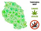Royalty Free Cannabis Tanzania Map Mosaic Of Weed Leaves. Concept For Narcotic Addiction Campaign Ag poster