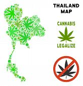 Royalty Free Cannabis Thailand Map Composition Of Weed Leaves. Concept For Narcotic Addiction Campai poster