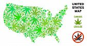 Royalty Free Marijuana Usa Map Mosaic Of Weed Leaves. Concept For Narcotic Addiction Campaign Agains poster