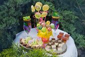 Candy Bar For Birthday, A Large Assortment Of Sweets, Muffins, Candy, Poppy Cake And Other Sweets On poster