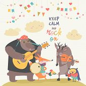 Cute Animal Music Band. Cartoon Animals Playing On Musical Instruments. Vector Illustration poster