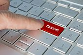 Big Red Contact Us Keyboard Button. Contact Inscriptions On The Keyboard Button, Red Button. poster