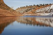 stock photo of horsetooth reservoir  - Horsetooth Reservoir near Fort Collins Colorado in late fall or winter scenery - JPG