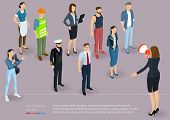 Flat Design 3d Isometric Business Woman Promoter With Loudspeaker Talking To Crowd.  Megaphone Alert poster