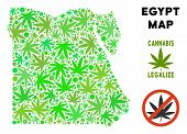 Royalty Free Cannabis Egypt Map Composition Of Weed Leaves. Concept For Narcotic Addiction Campaign  poster
