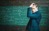 Unproven Theorem. Man Formal Wear Classic Suit Looks Smart, Chalkboard Background. Genius Suffers Un poster