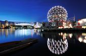 image of geodesic  - Vancouver Science World and BC Stadium at night - JPG