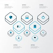 Hardware Icons Colored Set With Start Button, Hard Disk, Server And Other Power  Elements. Isolated  poster