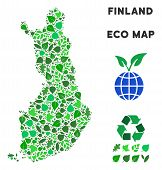 Eco Finland Map Collage Of Herbal Leaves In Green Color Hues. Ecological Environment Vector Concept. poster