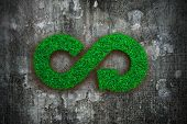 Eco And Circular Economy Concept. The Green Grass In Form Of Arrow Infinity Recycling Symbol On Dirt poster