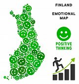 Happiness Finland Map Composition Of Smile Emojis In Green Variations. Positive Thinking Vector Temp poster