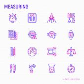 Measuring Thin Line Icons Set: Stopwatch, Weight Scales, Speedometer, Smart Watch, Brass Scales, The poster