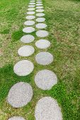 Footpath With Round Stone Slabs In The Grass. Who Knows Where It Leads? poster