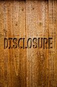 Text Sign Showing Disclosure. Conceptual Photo The Action Of Making New Or Secret Confidential Infor poster