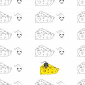 Seamless Pattern A Cartoon Mouse With A Piece Of Cheese. Vector Illustration Of A Seamless Backgroun poster