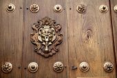 A Brass Door Knocker On A Coffee Coloured Wooden Door With Brass Studs poster