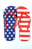 Flip Flop Sandals. American Flag Flip Flop Sandals. Isolated on white. Room for text. Stars and Stri poster