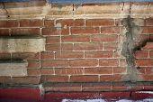 Wall Brick Seam Distressed Retro Concrete Masonry Crack Street House Building Texture poster