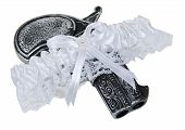 pic of garter-belt  - Little black pistol in a garter belt made of lace and ribbon worn as a decorative accessory  - JPG