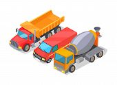 Cement-mixer And Trucks Set Of Machines, Lorry And Cement-mixer, Equipments For Construction And Bui poster