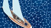 Sailing Ship Horizontal Banner With Empty Space. Top View Sail Boat On Deep Blue Sea Water. Luxury Y poster