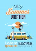 Summer Vacation Surf Bus Sunset Tropical Beach Retro Surfing Vintage Greeting Card Vertical With Let poster