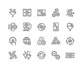 Simple Set Of Data Processing Related Vector Line Icons. Contains Such Icons As Filter, Gear, Scheme poster