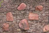 Seamless Stone Masonry Using Rectangular Stones, Red And Gray Shades. Texture poster