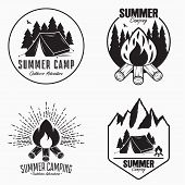 Vintage Summer Camp Logo Set. Camping Badges And Outdoor Adventure Emblems. Original Typography With poster