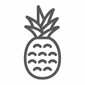 Pineapple Line Icon, Fruit And Ananas, Tropical Sign, Vector Graphics, A Linear Pattern On A White B poster