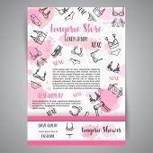 Lingerie Fashion Bra And Pantie Newsletter. Vector Illustration poster