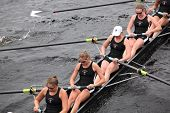Radcliffe women's Eights races in the Head of Charles Regatta