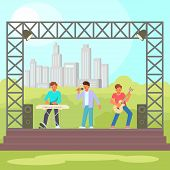 Vector Illustration Of Musicians Keyboardist, Guitarist And Singer Performing On Outdoor Concert Sta poster