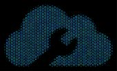 Halftone Cloud Wrench Tools Mosaic Icon Of Circle Bubbles In Blue Color Tints On A Black Background. poster