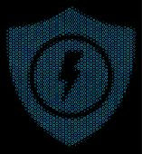 Halftone Electric Guard Mosaic Icon Of Circle Bubbles In Blue Color Tones On A Black Background. Vec poster