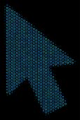 Halftone Mouse Cursor Mosaic Icon Of Spheric Bubbles In Blue Color Hues On A Black Background. Vecto poster