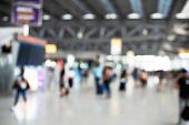 Blurry Background Of Airport With Crowd People. Abstract Concept. Business Traveling And Vacation Th poster