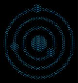 Halftone Solar System Collage Icon Of Empty Circles In Blue Shades On A Black Background. Vector Emp poster