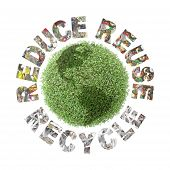 stock photo of superimpose  - Green plant globe and three ecological phrases  - JPG