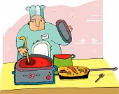 stock photo of boiling point  - professional chef preparing a hot meal - JPG