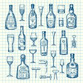 Vector Hand Drawn Alcohol Drink Bottles And Glasses Set Of On Cell Sheet Illustration. Absinthe And  poster