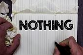Handwriting Text Writing Nothing. Concept Meaning Not Anything No Single Thing Or Value Absence Of P poster