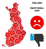 Emotion Finland Map Mosaic Of Sad Emojis In Red Colors. Negative Mood Vector Concept Of Depression R poster