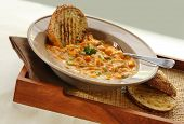 picture of italian food  - Minestrone pasta and vegetable soup with crusty grilled sourdough - JPG