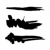 Grunge Ink Brush Strokes Set. Freehand Black Brushes. Handdrawn Dry Brush Black Texture. Vector Illu poster